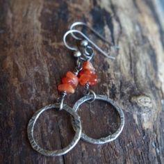 Fine silver and orange Carnelian earrings - Hand forged metalwork dangles - Organic circles, semi precious stones - Summer earrings