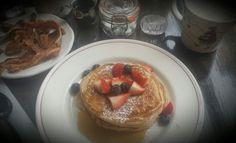 Little Owl brunch :D #littleowl #wholewheat #pancakes #bacon #maplesyrup #coffee #littleredridinghood