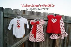 Valentine's Day Outfit - Girls HEART Polka Dot Dress, Chevron Bow, Ruffle PANTS, Boys Tie Onesie / Shirt - monogram, applique, boutique. $90.00, via Etsy.