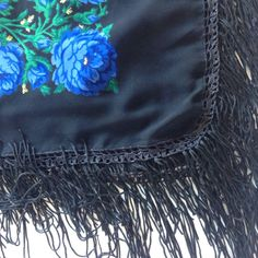 Gift for Coworker on Birthday Black Floral Scarf Blue square scarf, Crochet & Fringe head scarf, Russian scarf, Mothers Day Gift for Wife by blingscarves. Explore more products on http://blingscarves.etsy.com