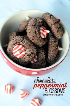 Rich, chocolate-y cookies paired with creamy peppermint---Chocolate Peppermint Blossoms are a must-make holiday cookie!