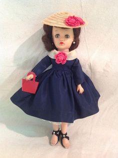 Notable! Scarce vintage 1957-58 Brunette Little Miss Revlon...Navy silk dress... #Ideal #Dolls