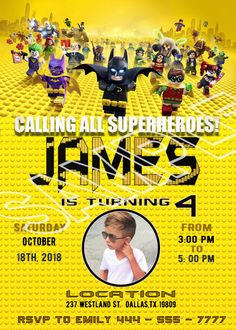 lego batman invitations with photo lego batman party invitations Welcome to Best Birthday Party This is a s Lego Batman Movie Birthday invitation will be a perfect addition to celebrate Lego Batman Invitations, Spiderman Birthday Invitations, Lego Batman Birthday, Lego Batman Party, Superhero Birthday Party, Printable Birthday Invitations, Party Invitations, Birthday Board, 5th Birthday