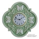 Butterfly Design Children's Wall Clock cast from Marie Ricci's hand carved original. Shown in distressed pale green. Hand painted in one of 18 designer colors. Available in solid or distressed finishes. Our unique clocks measure 18 inch x 18 inch and we offer two 6 1/4 inch clock faces to choose from. Glass face shown no longer available. Type in your face selection at checkout in the comment section. Any ceiling medallion design can be made into a clock, so if you do not see it ...