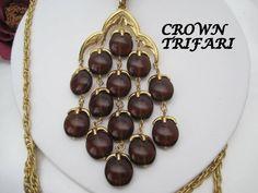 Crown Trifari Waterfall Necklace Tortoiseshell Lucite Vintage 70's