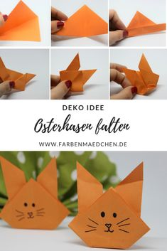 Osterhasen falten - My best diy and crafts list Bunny Origami, Dinosaur Origami, Origami Butterfly Easy, Origami Flowers Tutorial, Origami Simple, Kids Origami, Origami Art, Christmas Origami, Kids Christmas