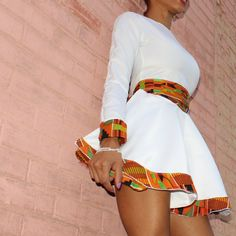 Custom made Kente and white two piece dress with flare skirt african fashion