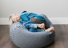 This free crochet bean bag pattern is perfect for a nursery or kids room. Pouf pattern could easily be adapted to knitting too!