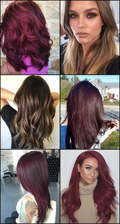 shades of burgundy hair, burgundy hair color ideas, burgundy hair highlights. Burgundy Hair With Highlights, Shades Of Burgundy, Colored Highlights, Hair Highlights, Hair Shades, Fashion Online, Hair Color, Tutorials, Hairstyles