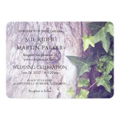 #Rustic Wood and Ivy Wedding Invitation - #weddinginvitations #wedding #invitations #party #card #cards #invitation #spring