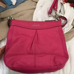 Coach bag Pink coach bag. Used. Pen stain on back. Please make offers with offers button. Coach Bags Shoulder Bags