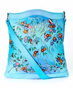 Magnifique Bags Blue Spring Flowers Hand-Painted Leather Shoulder Bag by Magnifique Bags #zulily #zulilyfinds