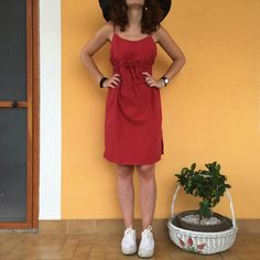 Vestito salopette  rosso