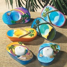 79b678ee1e2e22 Flip flop candle holders -- fun idea for pool party.use citronella tealights