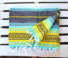 Mexican Blanket Yellow Turquoise Mint Stripped Warm Cozy Boho Beach Picnic Vintage Style Cozy soft blanket for cold nights, rainy days with an amazing