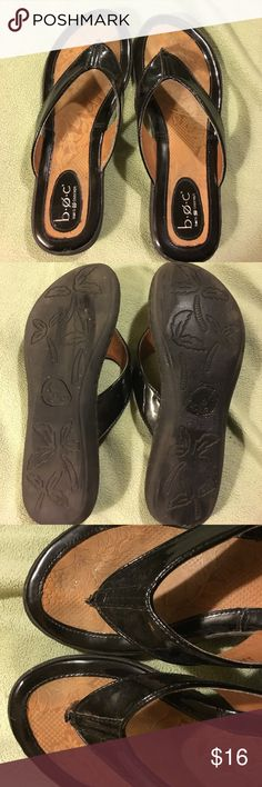 b.o.c. Sanders Black and brown faux leather flip flops slightly worn b.o.c. Shoes Sandals