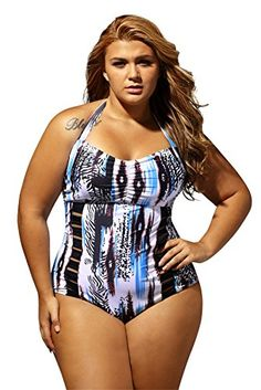 123eba39c68c8 Lalagen Women s Sexy Halter Cutout Plus Size One Piece Swimsuit Swimwear  Abstract XL
