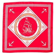 Red silk scarf with marine patterns.