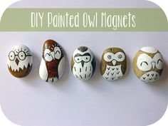 DIY Owl Magnets #DIY #tutorial #stone #pebbles #magnets #owls #project