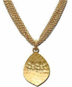 Lauren Ralph Lauren Necklace, Gold-Tone Leaf This probably isn't as shiny as it should be