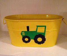 Yellow metal bucket john Deere tractor party decor food server organizer boys room baby shower