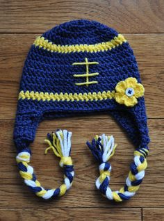 Infant Girls Michigan Inspired Crochet Football Hat on Etsy ba58cb5062d5