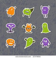 Set of sticks with cute monsters. Halloween theme.
