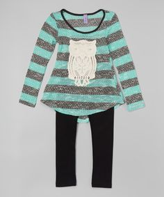 Mint Stripe Owl Tunic & Leggings - Toddler & Girls by Maya Fashion #zulily #zulilyfinds