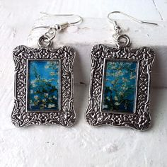 """Vincent Van Gogh """"Almond Branches in Bloom"""" Earrings Frame Tibetan Silver Plated"""