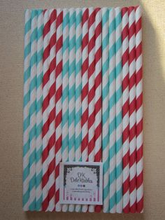24 Aqua & Red Circus Carnival Dr Seuss Striped by DKDeleKtables, $3.90