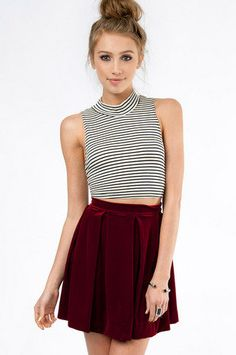 striped turtle neck crop tank