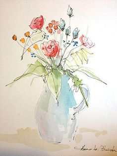 Original Water Colour and ink Painting 'Small Bouquet'. Signed.
