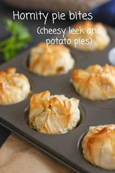 Homity pie bites - cute little versions of the traditional British cheesy leek and potato pie! vegetarian snack recipe, great for parties Welsh Recipes, Scottish Recipes, British Recipes, Best Appetizers, Appetizer Recipes, Pastry Recipes, Cooking Recipes, Phyllo Recipes, Uk Recipes