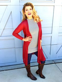 Lularoe JillnBrandon styling a Lularoe cranberry red Sarah cardigan with gorgeous buttery soft Lularoe leggings. Paired with a personal top and brown boots for a great fall look! For more ideas check out www.JillnBrandon.com