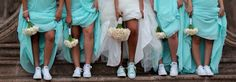 Tiffany blue bridesmaids dresses and matching converse shoes for bride.