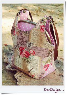 Shoulder bag Kiss lock clutch Metal frame bag with por DooDesign