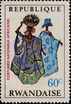 Stamps ©: Stamp of Rwanda (Africa). Costume Africain, Postage Stamp Design, Afrique Art, Love Stamps, Vintage Stamps, Orient, Penny Black, Mail Art, Stamp Collecting