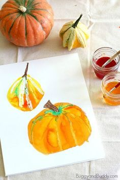 Fall Art Project for Kids: Create still life watercolor paintings using pumpkins and squash. Fun craft for autumn and Halloween and great for…