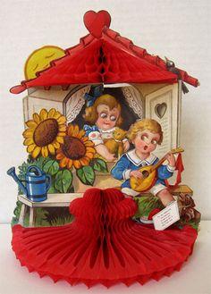 Boy Plays Mandolin ~ Vintage Honeycomb Valentine