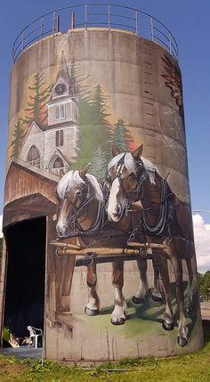 Home Design Drawings Belgians mural on grain bin Country Barns, Old Barns, 3d Street Art, Street Art Graffiti, Art Du Monde, Barn Pictures, Barn Art, Country Scenes, Barn Quilts