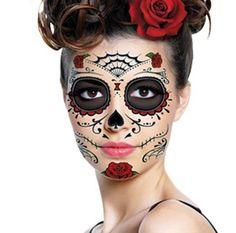 Sugar Skull Temporary Face Tattoo -Red Roses & Webs - Day of the Dead - Calavera