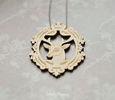 Wood Pendant with Deer in Vintage Lace
