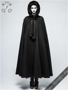 Y-790bk Black Moon long gothic cloak by PunkRave