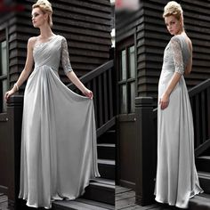 Elegant Gray Grey Chiffon Lace Engagement Evening Homecoming Gowns SKU-122424