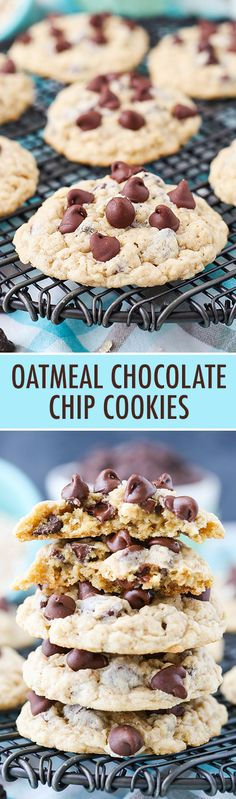 Oatmeal Chocolate Chip Cookies - soft, chewy and full of oatmeal and chocolate chips!