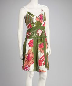 Take a look at this Olive & Pink Floral Dress by Jazzy Martini on #zulily today!
