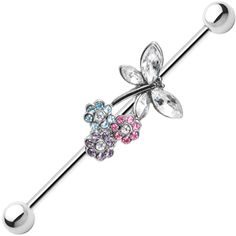 Multi Gem Flower Dragonfly Industrial Barbell 37mm | Body Candy Body Jewelry