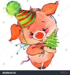 Funny pig and New Year party. watercolor illustration