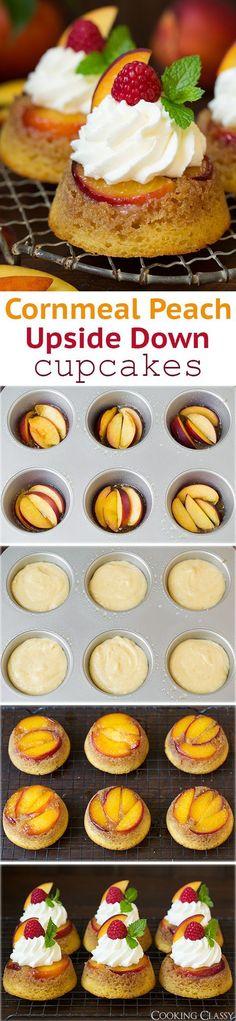 Cornmeal Peach Upside Down Cupcakes