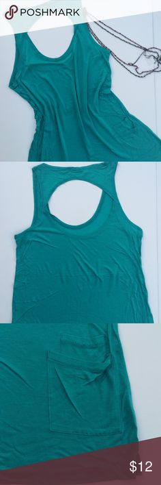 "Open Back Tank Sz S Great! Style:  tank Neckline: scoop Body length:  30"" Bust:  36"" Sleeve type:  sleeveless  Color:  green jade Fabric:  100% rayon jersey Tops Tank Tops"